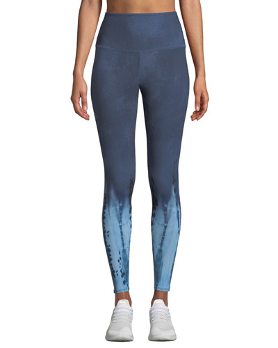 High-Waist Tie-Dye Midi Yoga Leggings