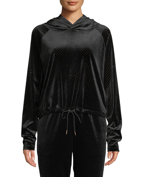 ONZIE Velour Mesh Pullover Hoodie With Drawstring Hem in Black