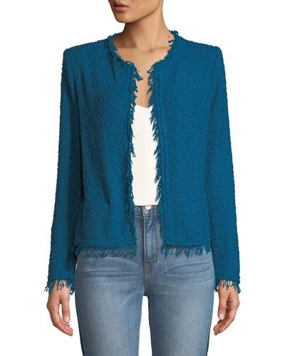 Shavani Frayed Boucle-Knit Jacket