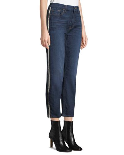 Crystal-Stripe Crop Straight-Leg Jeans