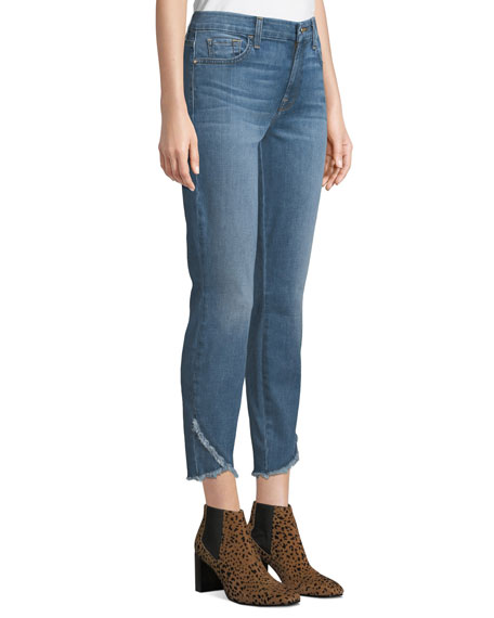 Mid-Rise Ankle Skinny Jeans w/ Scallop Hem
