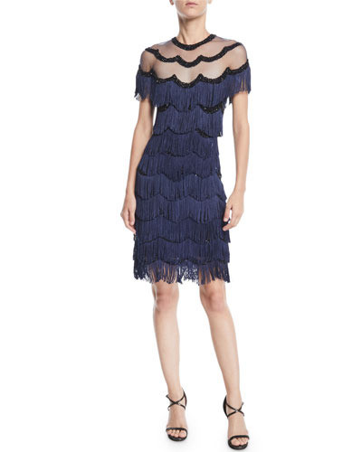 NK32 Naeem Khan Beaded Fringe Dress W Sheer Yoke