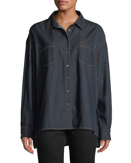 3x1 Joni Button-Front Denim Shirt