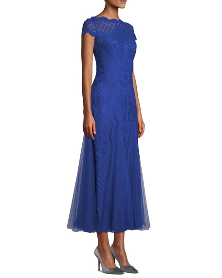 Roone Tea-Length Dress w/ Tulle Skirt