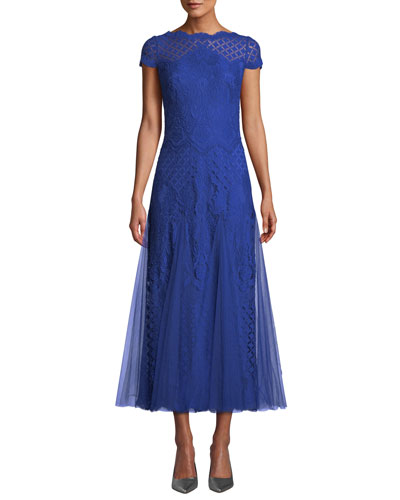 Roone Tea-Length Dress w/ Tulle Skirt
