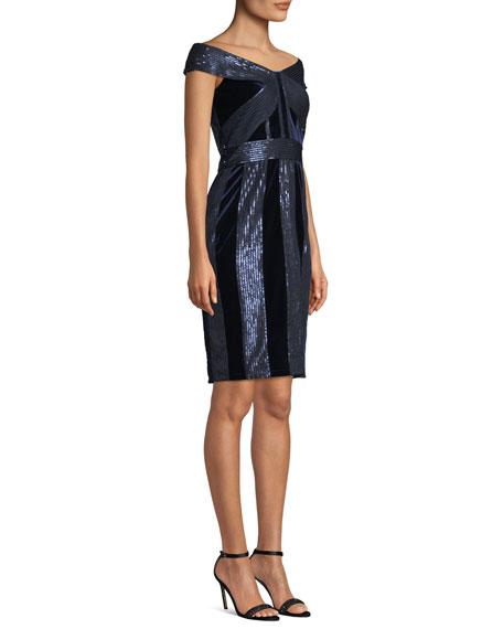Off-the-Shoulder Velvet & Sequin Cocktail Dress