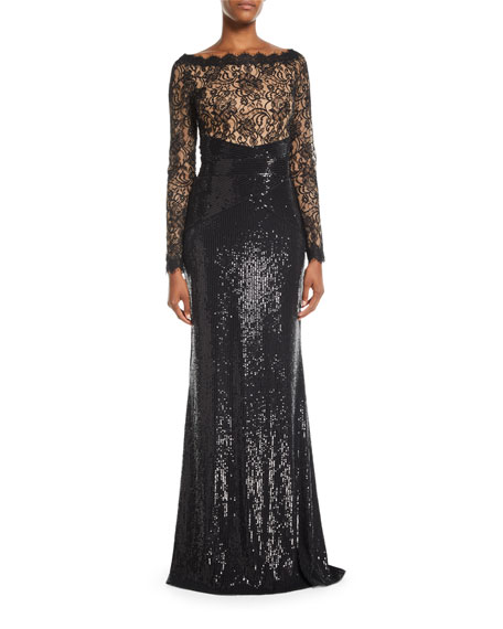 Long-Sleeve Lace & Sequin Gown w/ Train