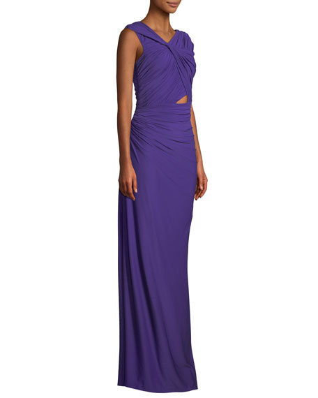 Ruched Jersey Column Gown w/ Cutout