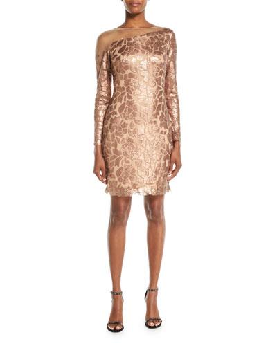 Long-Sleeve Sequin Dress w/ Illusion