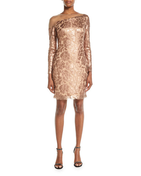 Long-Sleeve Sequin Dress w/ Illusion