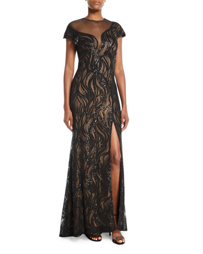 Cap-Sleeve Sequin Illusion Gown w/ High Slit