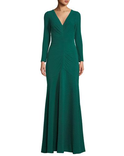 Elias Jersey Pintuck Long-Sleeve Gown