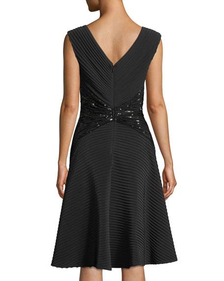 Sleeveless Jersey Pintuck Dress w/ Lace