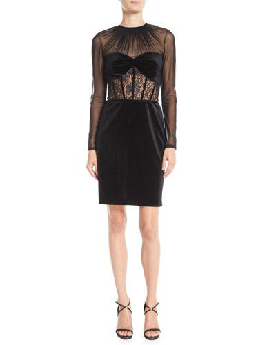 Long-Sleeve Velvet & Lace Corset Dress