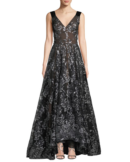 Sleeveless Embroidered Sequin Gown