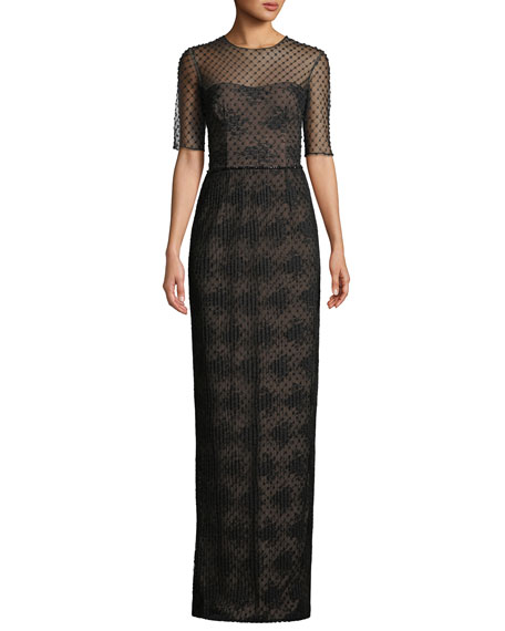 David Meister Lace Illusion Gown over Beaded Lining