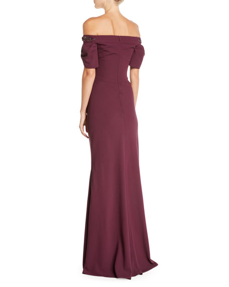 Off-the-Shoulder Crepe Gown w/ Beaded Trim