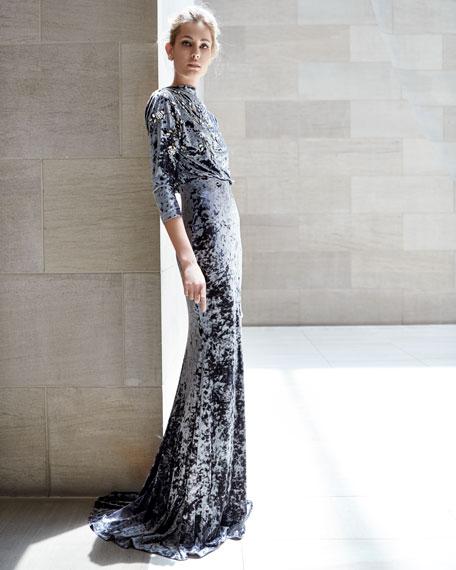 Long-Sleeve Blouson-Top Beaded Crushed Velvet Evening Gown