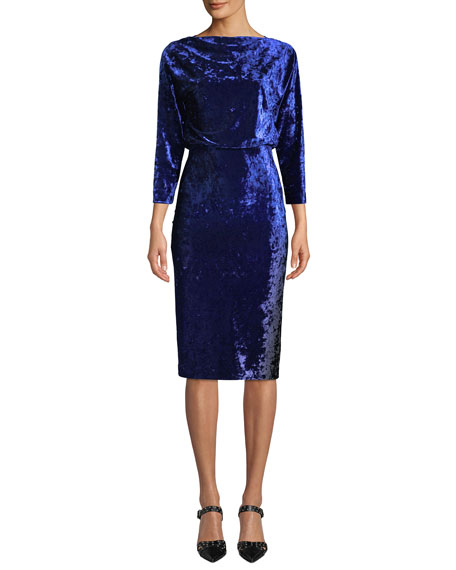 Badgley Mischka Collection Blouson Dress in Ombre Velvet