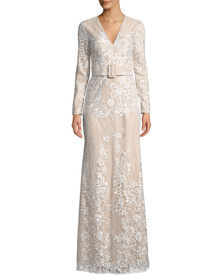 f083579946 Badgley Mischka Collection Embroidered Long-Sleeve Belted Gown