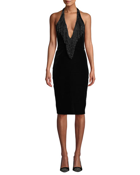 Badgley Mischka Collection Velvet Halter Dress w/ Beaded
