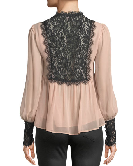 Wildwoman Silk Top w/ Lace Details