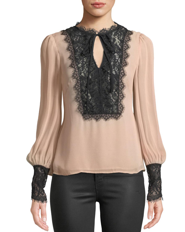 38e759f1aa3680 Nanette Lepore Wildwoman Silk Top w  Lace Details