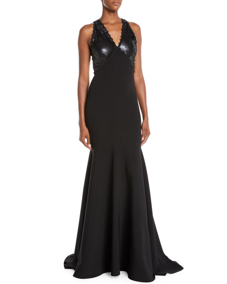 NK32 Naeem Khan V-Neck Trumpet Gown w/ Sequin