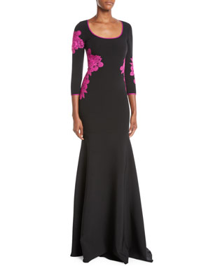 e7560ff33cc NK32 Naeem Khan Scoop-Neck Gown w  Floor Lace