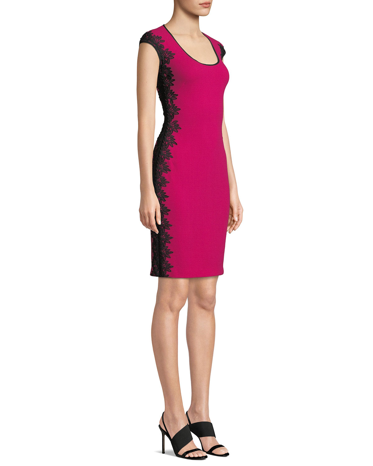 Scoop Neck Cocktail Dress W/ Lace Sides by Nk32 Naeem Khan