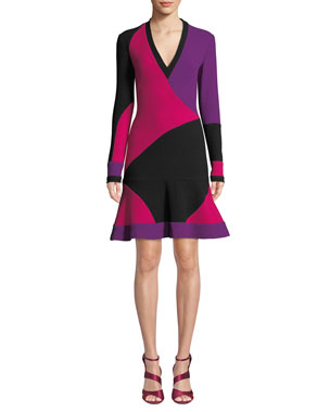 NK32 Naeem Khan Long-Sleeve Colorblock V-Neck Cocktail Dress dfdb6fafac8b