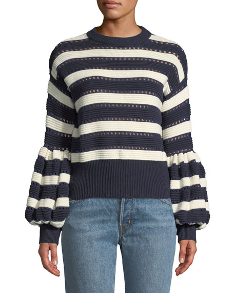 Striped Balloon-Sleeve Cotton And Wool-Blend Jumper, Blue/White
