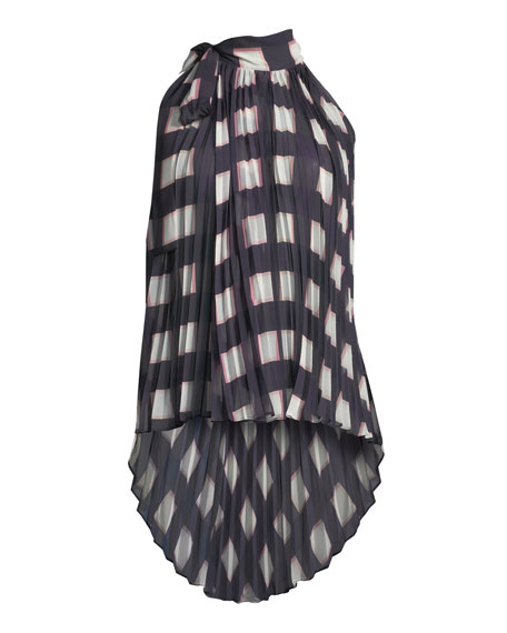 Pleated Check Chiffon Wrap Top