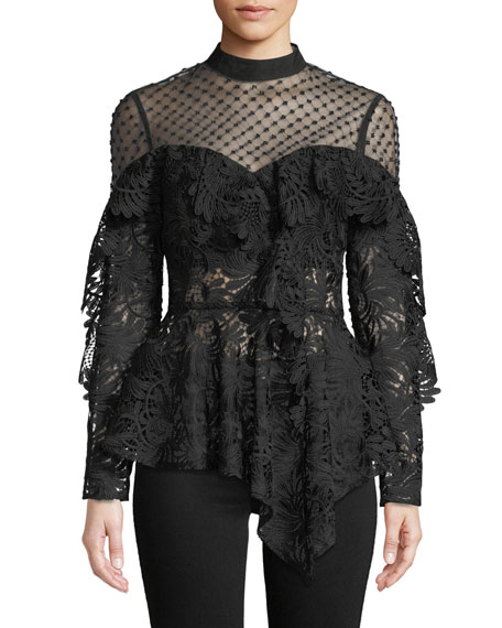 Beaded Yoke Lace Handkerchief Hem Top in Black