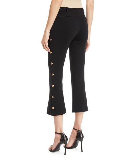 Cropped Boot-Cut Pants with Golden Buttons