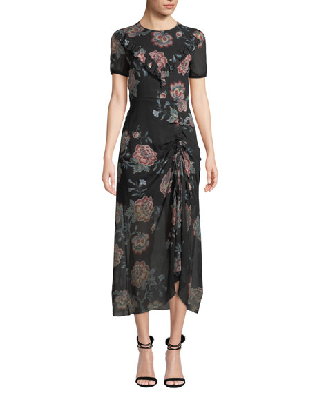 Ruched Floral-Print Ruffle Midi Dress