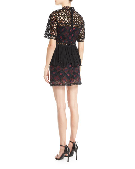 High-Neck Embroidered Illusion Top