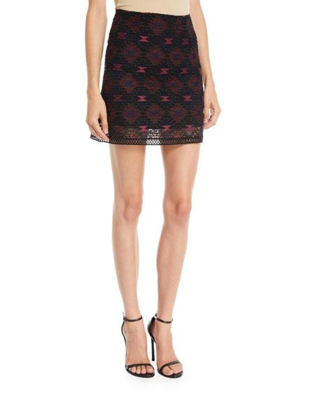 Embroidered Illusion Mini Skirt