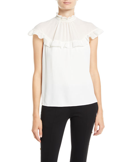 High-Neck Chiffon Ruffle Top