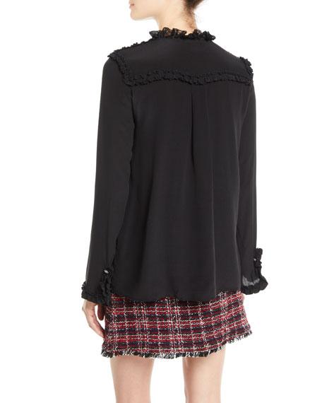 Ruffle Lace Long-Sleeve Silk Blouse