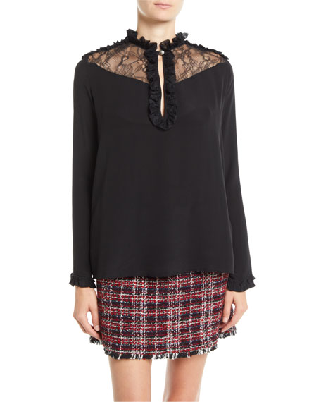 PINKO Ruffle Lace Long-Sleeve Silk Blouse