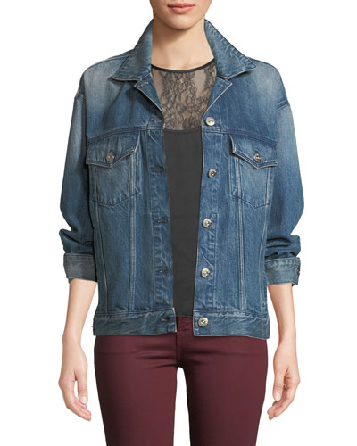 Bijou Lace-Up Chain Denim Jacket