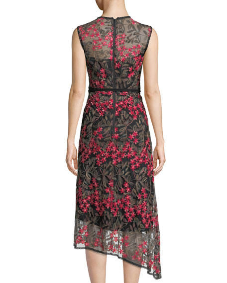Charmer A-Line Dress w/ Floral Overlay
