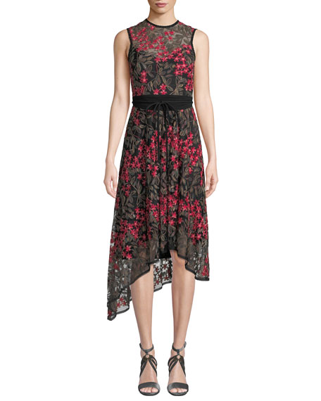 Nanette Lepore Charmer A-Line Dress w/ Floral Overlay