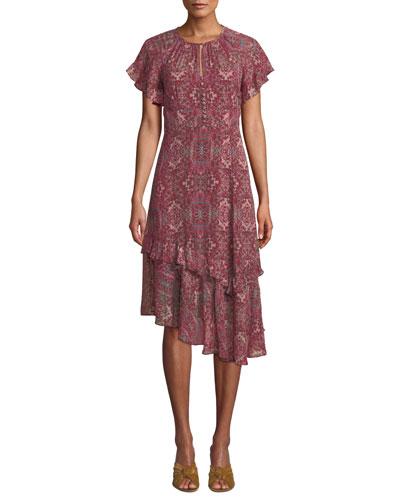 Desdemona Silk Dress w/ Asymmetric Hem