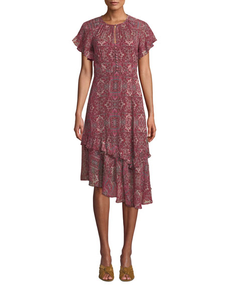 Nanette Lepore Desdemona Silk Dress w/ Asymmetric Hem