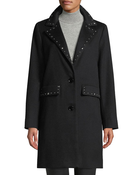 SOFIA CASHMERE Studded Two-Button Wool Coat in Black