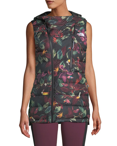 THE NORTH FACE Niche Hooded Floral Puffer Vest in Black Pattern