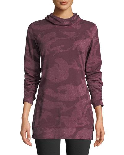 Baselayer Camo-Print Hooded Activewear Top