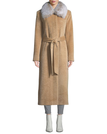 SOFIA CASHMERE Long Fur-Collar Belted Coat in Yellow Pattern